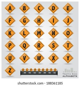 Traffic Sign Alphabets Font Style Design Template