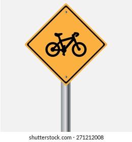 Traffic sign . bicycle warning  sign