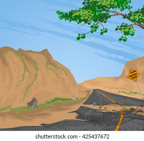 Traffic sign broken road vector,rural scenery nature landscape background