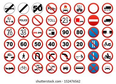 Traffic sign collection: Prohibit and restrict