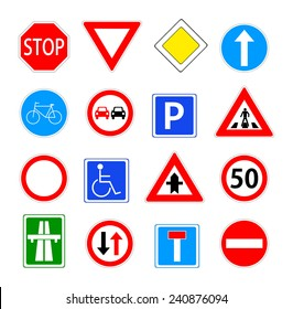 Traffic sign collection. red, blue, green and yellow warning, priority, prohibitory, mandatory... road sings set. vector art image illustration, isolated on white background