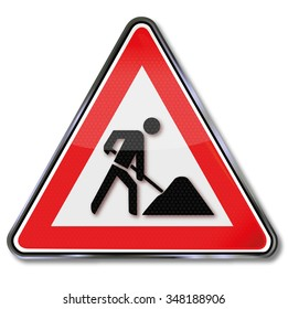 Traffic sign construction sign and worker