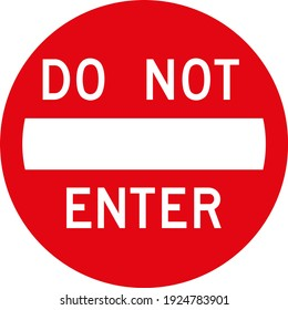 Traffic sign do not enter red color flat icon
