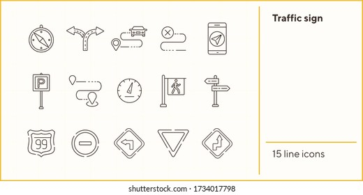 Traffic sign icons. Parking sign, yield ahead, access denied. Road sign concept. Vector illustration can be used for topics like traffic, road marking, traffic striping