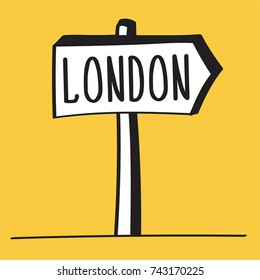 A TRAFFIC SIGN INDICATING DIRECTION TO LONDON.