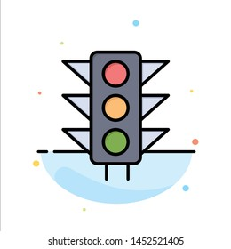 Traffic, Sign, Light, Road Abstract Flat Color Icon Template