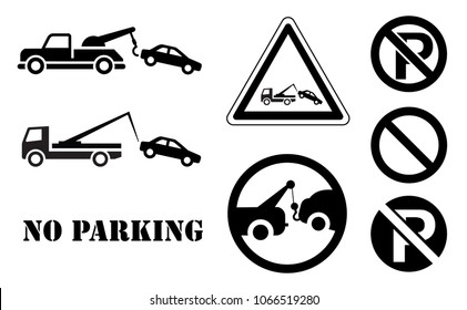Traffic sign no parking tow away zone sign car towing truck icon vector eps isolated  station service car tow service auto stopping road repair evacuator alert warning forbid forbidden dragged disaste