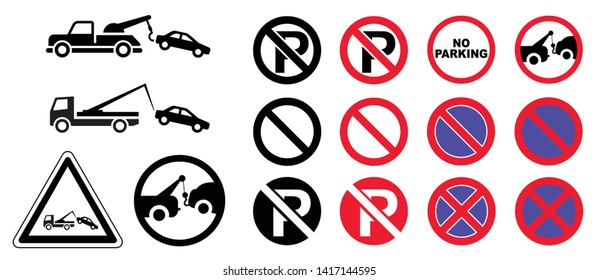 Traffic sign no parking tow away zone sign car towing truck icon Caution isolated  station service car tow service auto stop road repair evacuator alert warning forbid forbidden dragged disaste vector