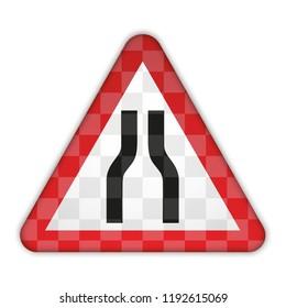 Traffic sign. Road narrows on both sides. Vector illustration