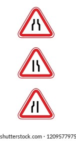 Traffic sign road narrows. Vector illustration. Road narrows traffic sign on white background with clipping path. Road,signnarrow road ahead. a triangular design warning for road narrows ahead in righ