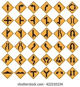 Traffic sign set isolated vector illustration.