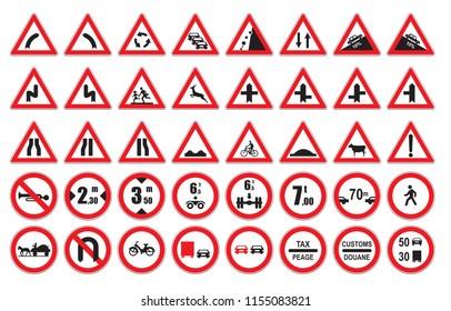 Traffic sign set vector