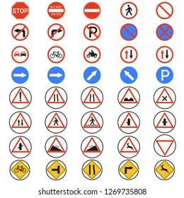 Traffic sign set vector,Road sign- Vector illustration,