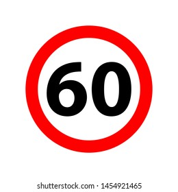 Traffic sign speed limit 60. 60 speed limitation road sign on white background. SPEED LIMIT 60 sign in red circle. Vector icon