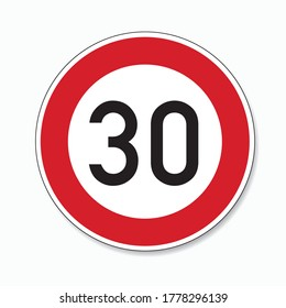 traffic sign speed limit thirty. German traffic sign restricting speed to 30 kilometers per hour on white background. Vector illustration. Eps 10 vector file.