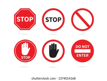 Traffic sign stop set. Prohibition sign. Vector illustration. on white background