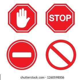 Traffic sign stop set. Vector illustration. on white background