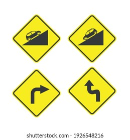 traffic sign symbols, steep descents and sharp turns .