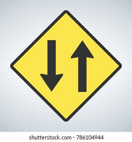 Traffic sign, Two way traffic ahead sign on white background, Vector illustration