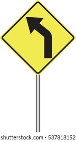 Traffic sign warning of the  left curve