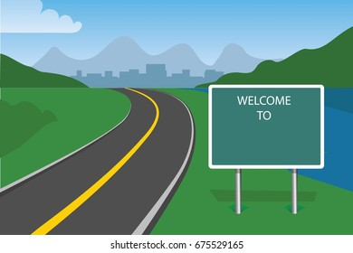 traffic sign welcome to with blank space, highway with mountains and fields