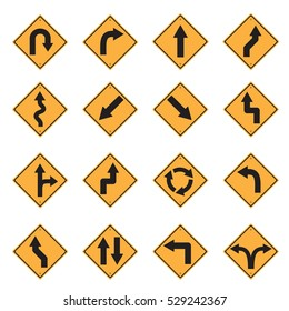 traffic sign yellow road sign icon set vector Illustration