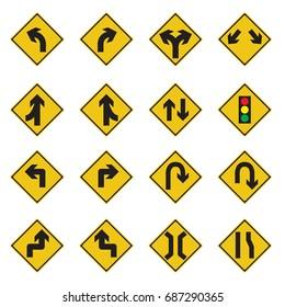 Traffic Sign Yellow Set Vector Illustration