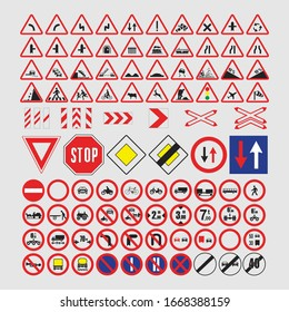 Traffic signs collection colored flat shapes vector