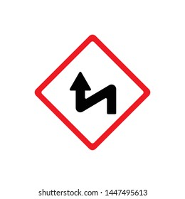 Traffic signs, curves. Vector icon