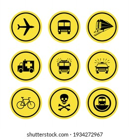 Traffic signs indicating the type of transportation for public and private services, such as airplanes, trains, buses, fire engines, ambulances, police cars, and bicycles