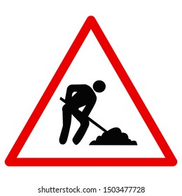 Traffic signs red triangle - Work underway or road construction site. Great for icon,sign,symbol,logo,sticker etc.