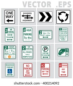 Traffic signs road in USA.