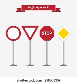 Traffic signs set 4. Flat style design - vector