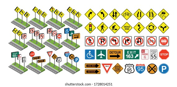 Traffic  signs set, vector illustration isolated on white, eps 10 vector