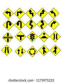 Traffic Signs set yellow