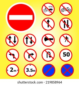 Traffic signs warning collection vector