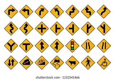 Traffic Signs Warning in vector format set on white background.