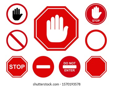 Traffic stop icon design. Set of traffic stop sign icon in trendy flat style design. Vector illustration.
