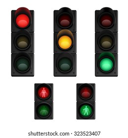 Traffic stop lights signals for transport flow and pedestrians crossing control pictograms collection realistic isolated  vector illustration