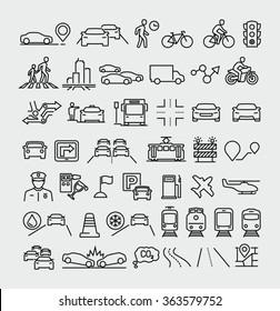 Traffic vector line icons set