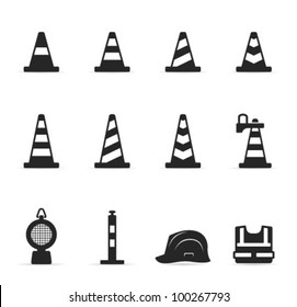 Traffic warning sign icon set in single color.Transparent shadows placed on layer beneath.