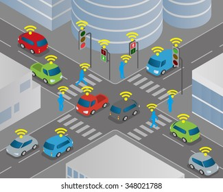 Traffic and wireless network, Intelligent Transport Systems, Internet of Things, vector illustration