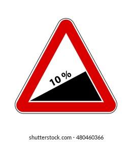 Traffic-Road Sign: Steep Climb or Steep Slope