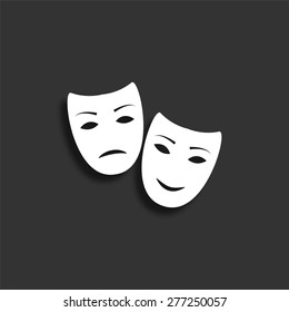 Tragedy and comedy masks icon with shadow - vector illustration