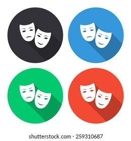tragedy and comedy masks vector icon - colored(gray, blue, green, red) round buttons with long shadow