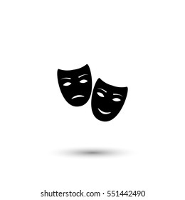 Tragedy and comedy masks vector icon with round  shadow