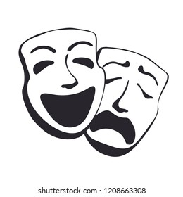 Tragedy comedy theater masks vector illustration