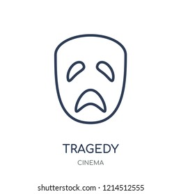 tragedy icon. tragedy linear symbol design from Cinema collection. Simple outline element vector illustration on white background.