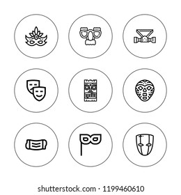 Tragedy icon set. collection of 9 outline tragedy icons with mask icons. editable icons.