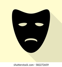 Tragedy theatrical masks. Black icon with flat style shadow path on cream background.